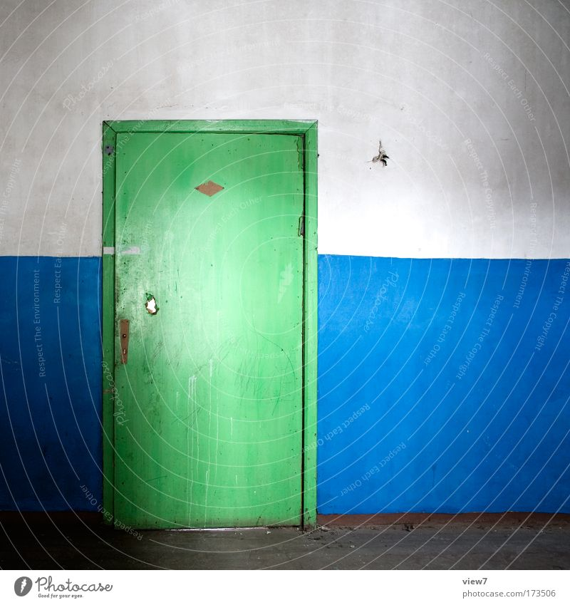 Old Green Blue House (Residential Structure) Wall (building) Multicoloured Wood Stone Wall (barrier) Room Dirty Door Time Gloomy Broken Authentic