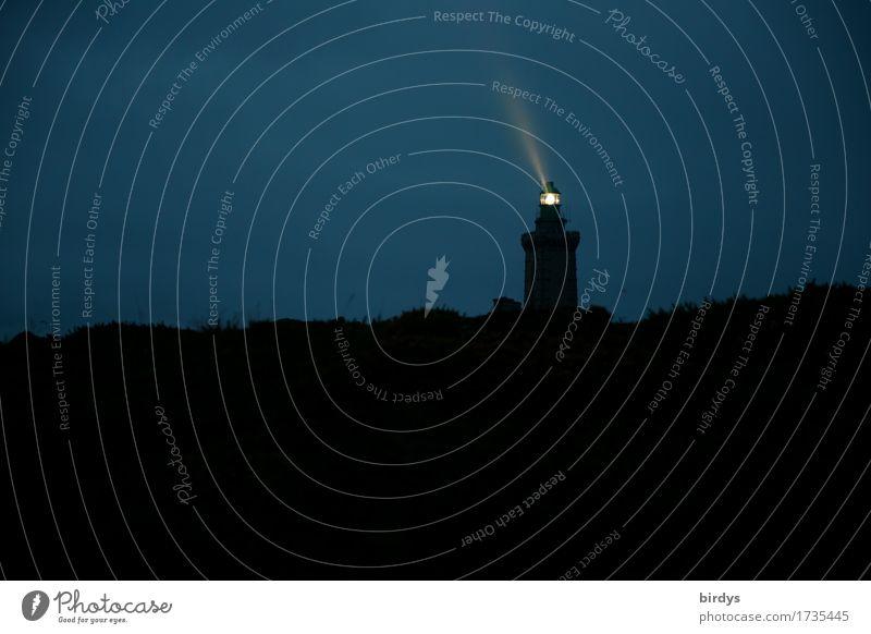 Vacation & Travel Blue Dark Black Yellow Coast Horizon Illuminate Hope Safety France Lighthouse Night sky Beam of light Beacon Cap Fréhel