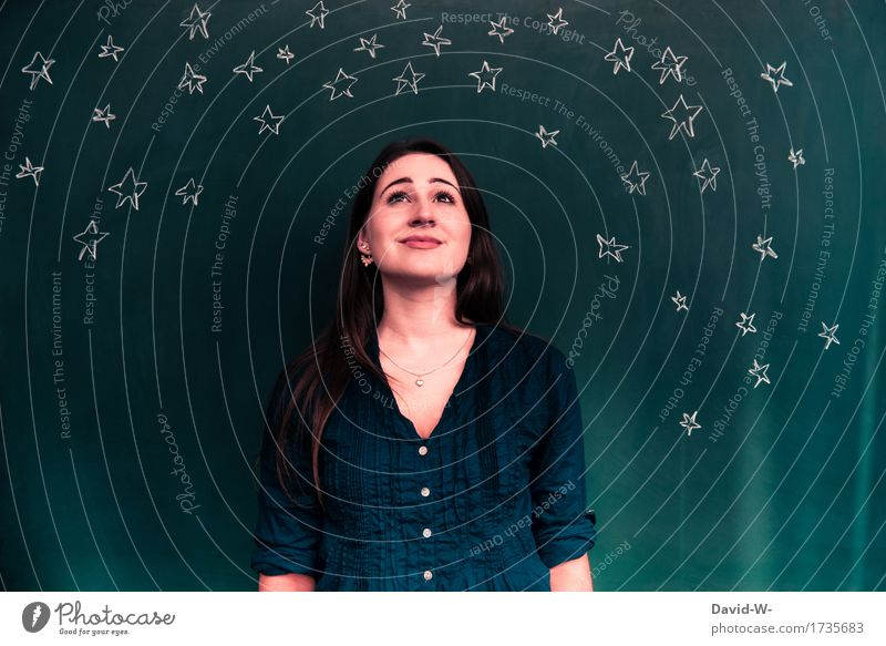 starry sky Human being Feminine Young woman Youth (Young adults) Woman Adults Infancy Life 1 Art Work of art Landscape Night sky Stars Horizon Moon