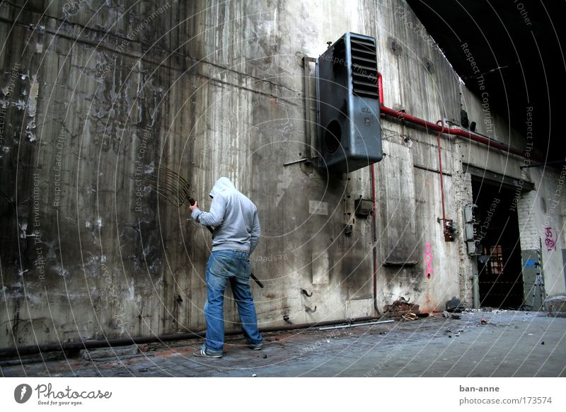 Against the wall. Subdued colour Interior shot Contrast Full-length Rear view Downward Industry Human being Masculine Back 1 Industrial plant Factory