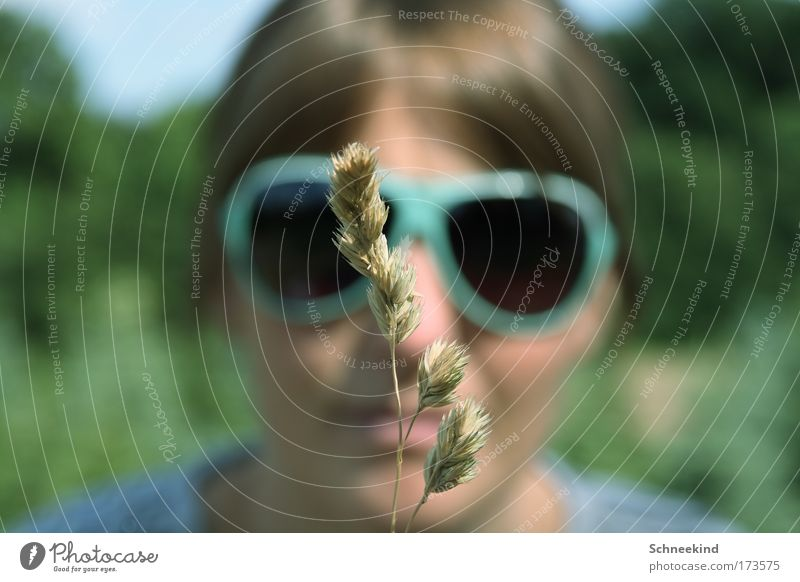 Human being Youth (Young adults) Calm Adults Meadow Playing Grass Head Garden Contentment Field Leisure and hobbies 18 - 30 years Observe Simple Young woman