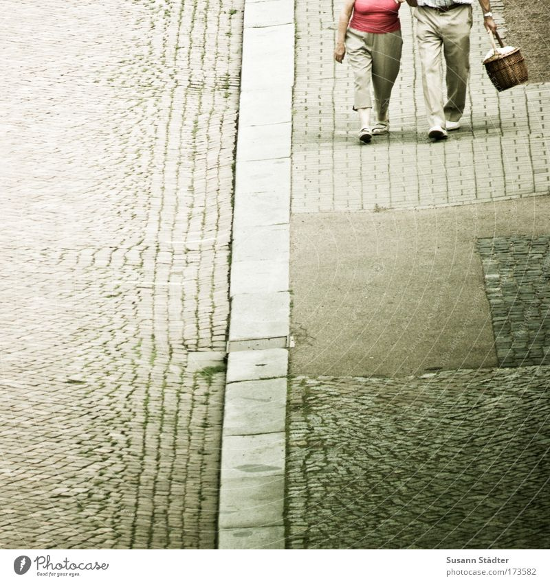 Human being Woman Man Joy Love Street Feminine Senior citizen Happy Legs Feet Together Contentment Going Happiness Authentic