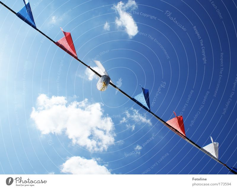 Sky Blue White Red Sun Summer Clouds Above Warmth Bright Cloth Point Flag Beautiful weather Long Summer vacation