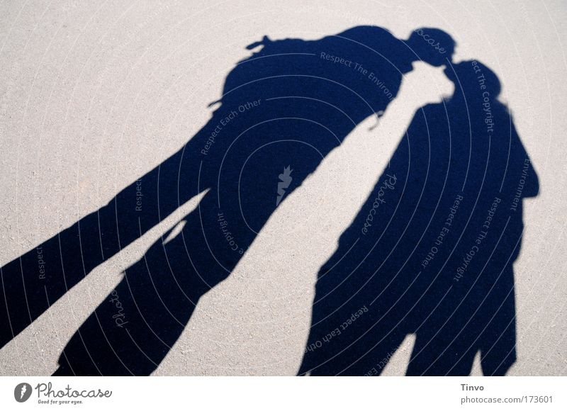 wish you were here Subdued colour Exterior shot Day Light Shadow Contrast Silhouette Human being Woman Adults Man 2 Kissing Happy Trust Warm-heartedness