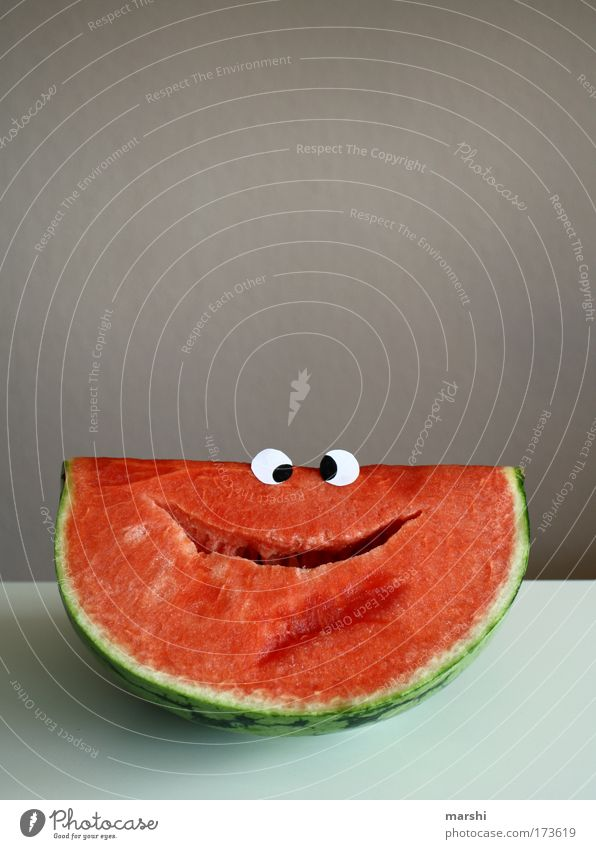 Wilfried Watermelon Colour photo Looking Food Fruit Nutrition Organic produce Vegetarian diet Diet Smiling Laughter Juicy Red Emotions Joy Happiness