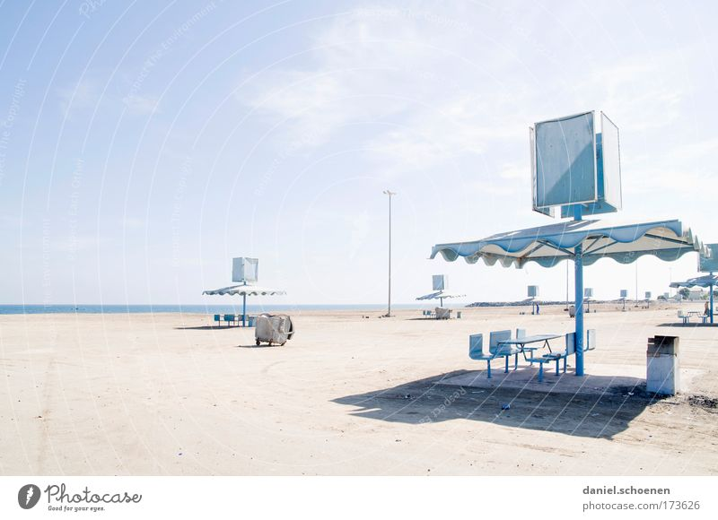 Sky White Blue Beach Warmth Sand Environment Tourism Change Climate Transience Trashy Dry Whimsical Bizarre Surrealism