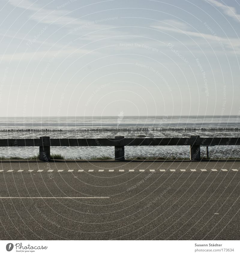 Road, crash barrier and lots of sea Subdued colour Exterior shot Deserted Copy Space top Copy Space bottom Day Evening Contrast Central perspective