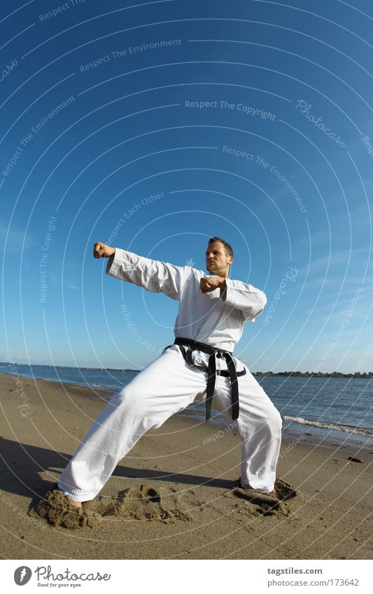 Man Beach Black Power Force Strong Guy Testing & Control Fight Fellow Blow Belt Martial arts Defensive Karate Chastisement