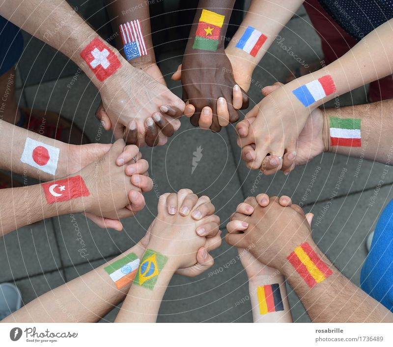 Nations hand in hand Human being Hand Group Sign Flag Free Together Uniqueness Multicoloured Brave Acceptance Agreed Loyal Friendship Peaceful Humanity