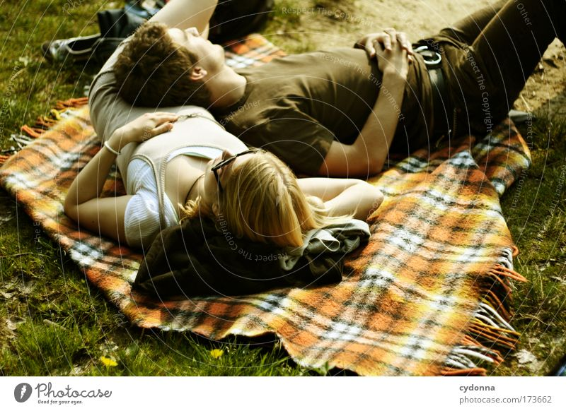 Human being Woman Man Nature Youth (Young adults) Sun Summer Calm Adults Love Relaxation Environment Life Meadow Emotions Freedom