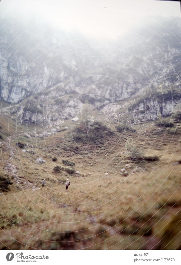 Crop it! Colour photo Exterior shot Copy Space top Dawn Blur Wide angle Climbing Mountaineering Human being Man Adults 1 Environment Nature Landscape Hill Rock