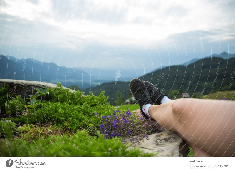 Beautiful Beene ... Summer vacation Mountain Hiking Woman Adults Skin Legs Feet 1 Human being 30 - 45 years Landscape Earth Sky Clouds Beautiful weather Flower