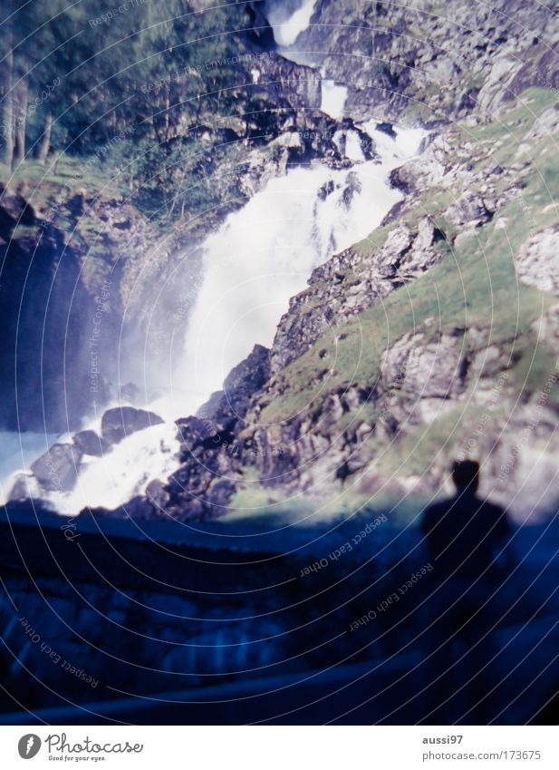 Positive Liquid Colour photo Exterior shot Blur Climbing Mountaineering Man Adults 1 Human being Waterfall Hiking Torrents of water Inspection Vantage point