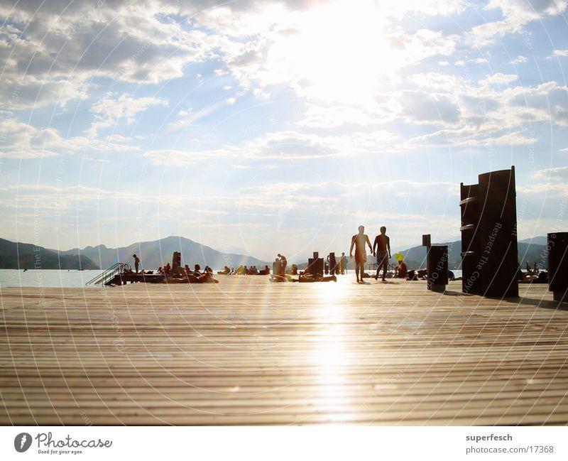 sun bridge Footbridge Plank Lake Federal State of Kärnten Summer Sunbathing Europe sunny Swimming & Bathing