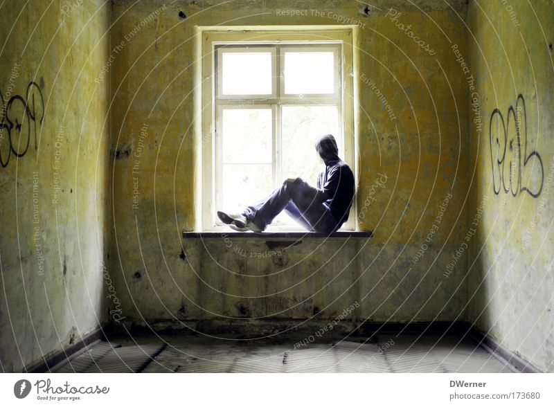 Human being Sun Loneliness Adults Far-off places Relaxation Window Wall (building) Graffiti Freedom Sadness Wall (barrier) Dream Fear Sit