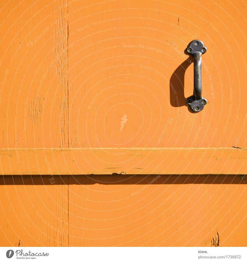 Town Wood Small Time Orange Design Bright Metal Door Esthetic Closed Simple Protection Might Safety Attachment