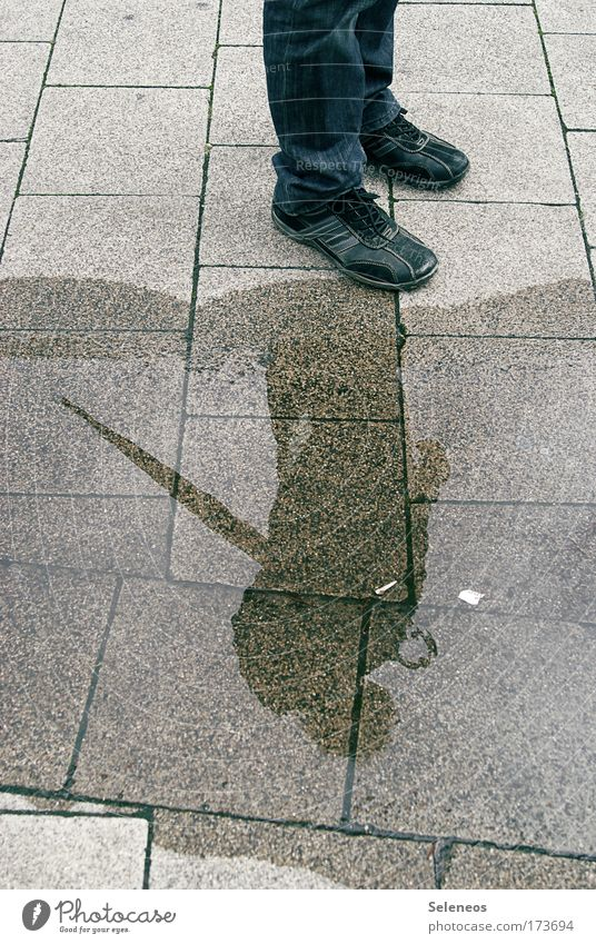 Human being Water Street Environment Sadness Dream Rain Weather Footwear Earth Wet Large Stand Jeans Clean Curiosity