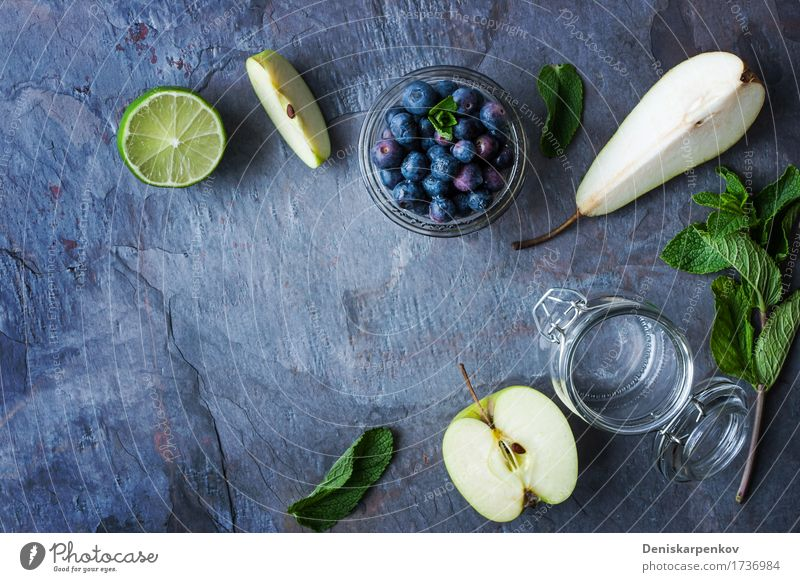 Ingredients for smoothie from apple, pear and blueberry Fruit Apple Nutrition Breakfast Vegetarian diet Juice Pot Table Plant Fresh Blue Yellow Green Colour