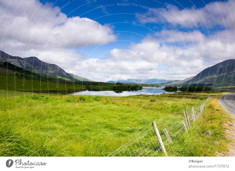 At the roadside Nature Landscape Water Sky Clouds Beautiful weather Mountain Lake Infinity Break Ireland Colour photo Exterior shot Day Reflection