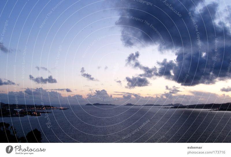 Sky Blue Vacation & Travel Ocean Clouds Calm Far-off places Colour Landscape Coast Moody Horizon Large Tourism Esthetic Harbour