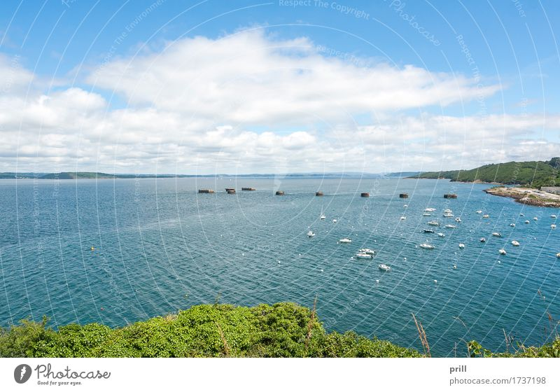 Vacation & Travel Plant Summer Water Landscape Ocean Clouds Coast Watercraft Bushes Bay Harbour France Atlantic Ocean Brittany Finistere