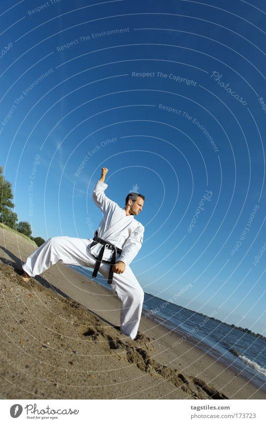 Man Beach Black Power Force Strong Guy Testing & Control Watchfulness Fight Fellow Belt Martial arts Defensive Karate Guard