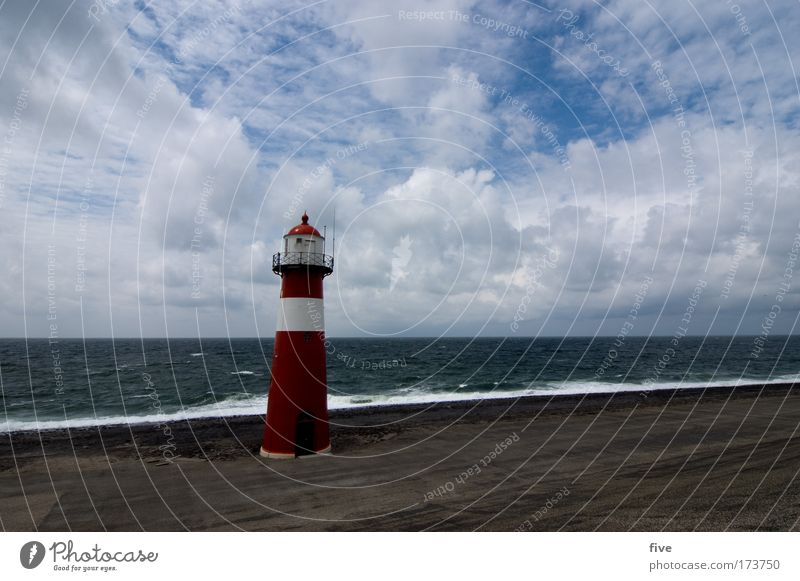 westkapelle_zeeland Colour photo Exterior shot Copy Space right Day Contrast Bird's-eye view Wide angle Nature Landscape Elements Earth Water Sky Clouds Horizon