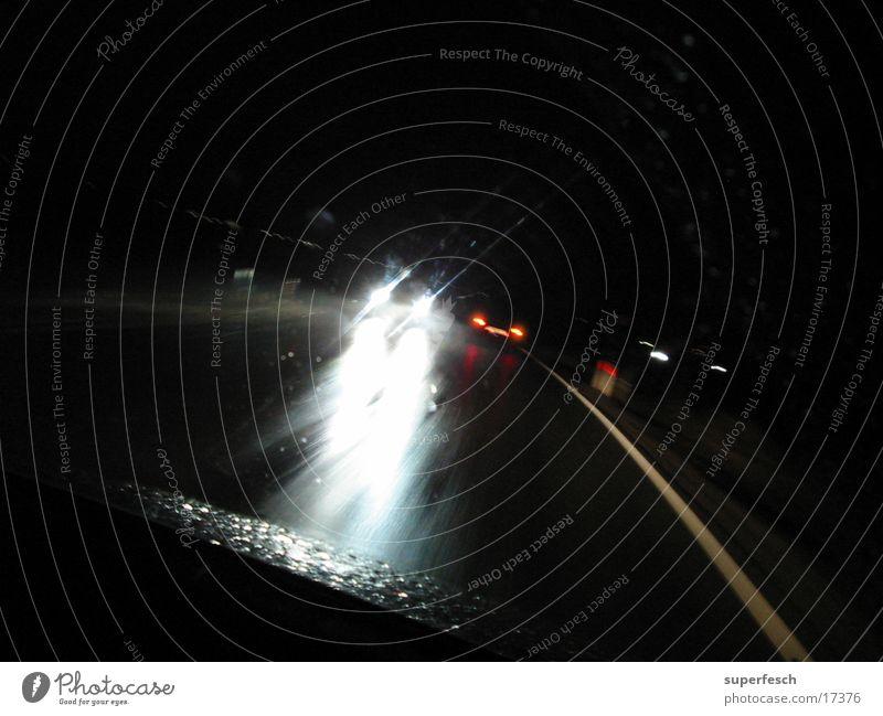 Night trip 2 Transport Oncoming traffic Dazzle Light Neon light Driving In transit Floodlight Lighting Rain