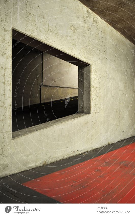 Red Dark Wall (building) Architecture Style Building Wall (barrier) Dirty Concrete Design Transport Exceptional Manmade structures Illustration Parking lot Tilt