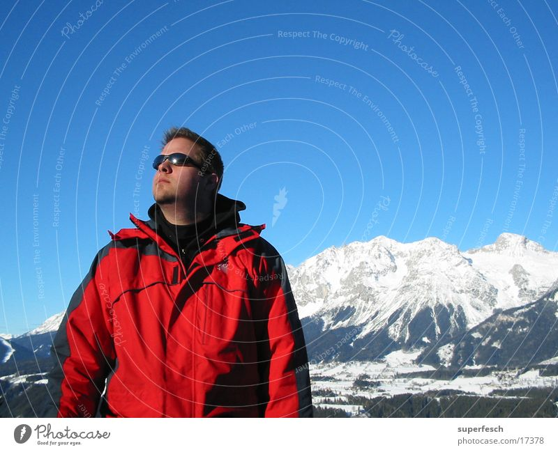 Man Sun Calm Winter Mountain Beautiful weather Alps Cloudless sky Sunglasses Snowscape Earnest Winter vacation Dachstein mountains Winter clothing Schladming