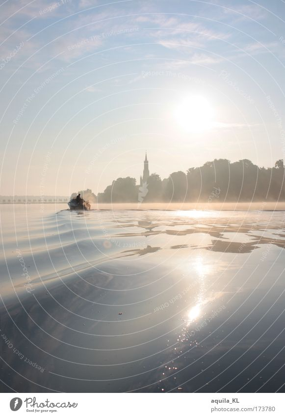 Fog over Malchow Colour photo Copy Space top Dawn Reflection Sunlight Sunbeam Sunrise Sunset Back-light Landscape Sky Summer Waves Fantastic Beautiful Dream