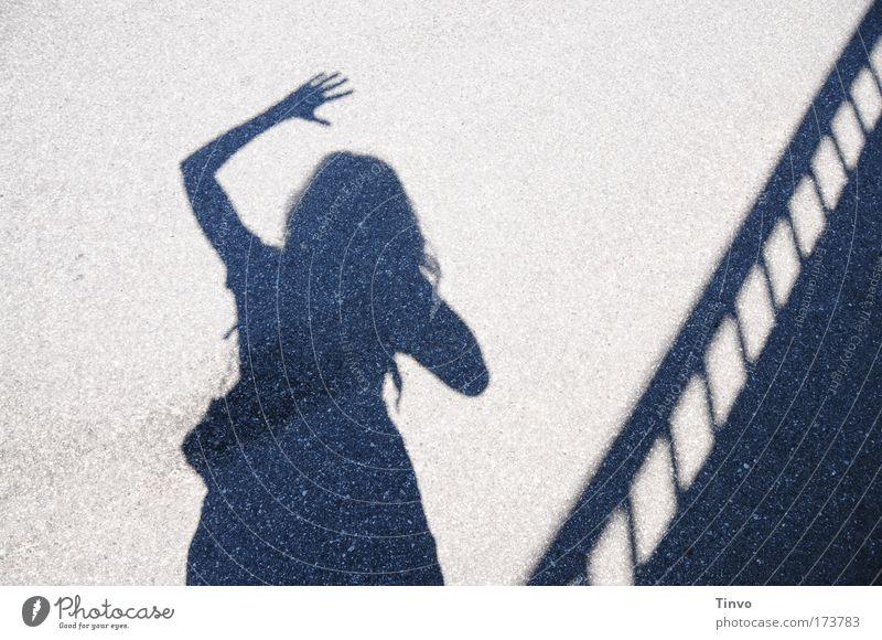 """""""Hello vacation!"""" Subdued colour Exterior shot Day Light Shadow Contrast Silhouette Human being Woman Adults 1 Stand Joy Happiness Contentment Hospitality Wave"""
