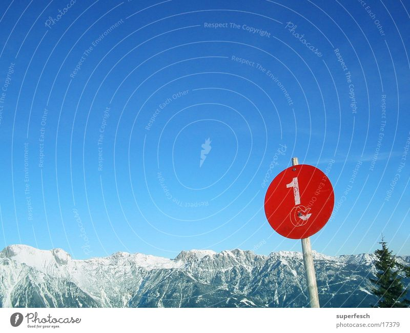 Sky Red Winter Mountain 1 Signs and labeling Vantage point Individual Beautiful weather Round Alps Treetop Blue sky Mountain range Ski run Dachstein mountains