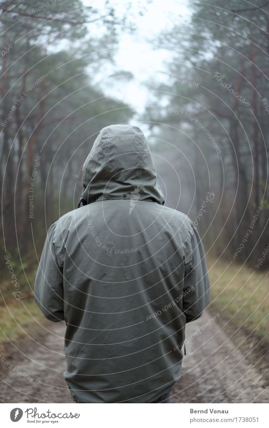 on Human being 1 Emotions Moody Calm Forest Footpath Jacket Weather Fog To go for a walk Loneliness Resting point Meditative Weather protection Lanes & trails