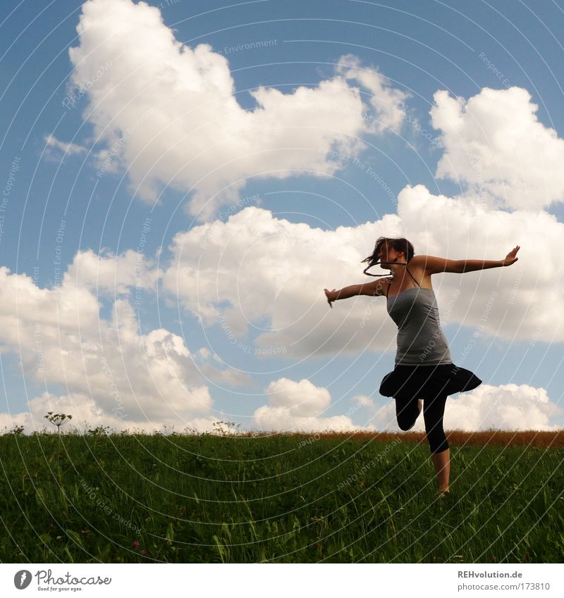 Human being Nature Youth (Young adults) Sky Joy Clouds Meadow Feminine Woman Movement Happy Dance Power Healthy Adults Success