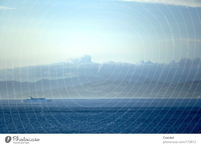 Morning over the Mediterranean Sea Colour photo Subdued colour Exterior shot Deserted Copy Space right Copy Space top Sunlight Long shot Vacation & Travel