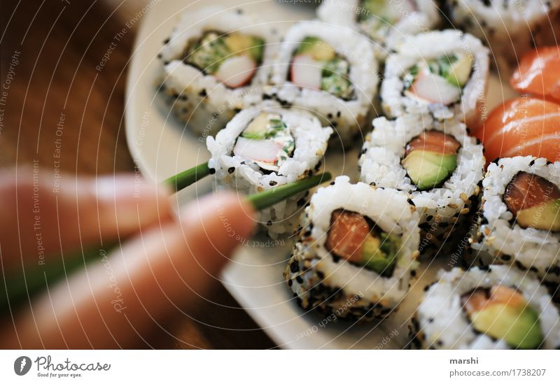 eat sushi Sushi Fish Rice Asian Food Delicious Nutrition Healthy Eating Dish Food photograph Appetite Exotic recipe Wooden table Bowl Cooking Salmon Chopstick