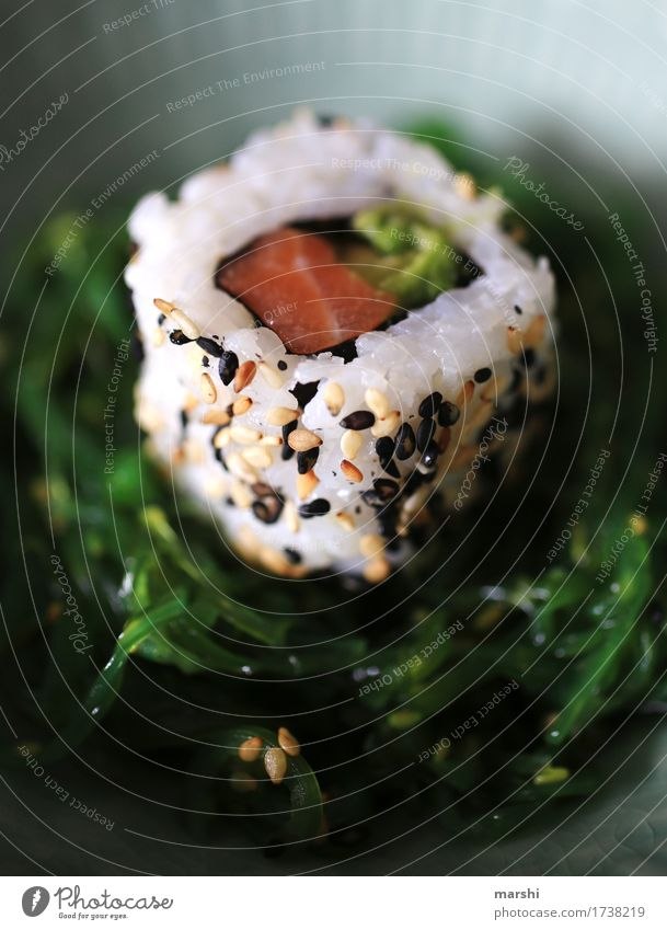 Sushi I Fish Rice Asian Food Delicious Nutrition Healthy Eating Dish Food photograph Appetite Exotic Kitchen Cooking recipe Wooden table Bowl Salmon Sesame
