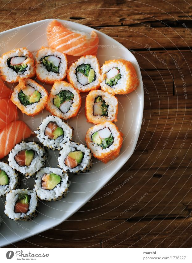 Sushi Selection Fish Rice Asian Food Delicious Nutrition Healthy Eating Dish Food photograph Appetite Exotic Kitchen Cooking recipe Wooden table Bowl Salmon