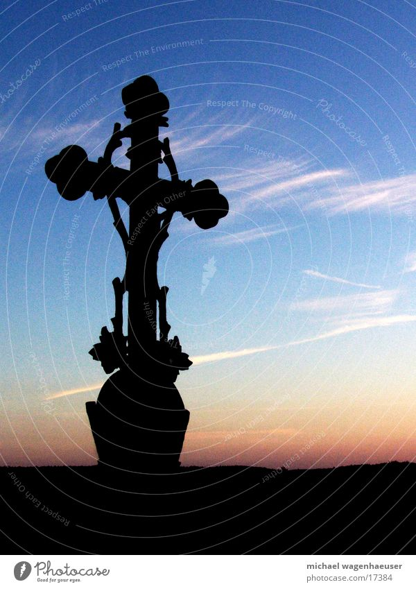 Cross before sky Sunset Clouds Dark Religion and faith House of worship Back Sky Old