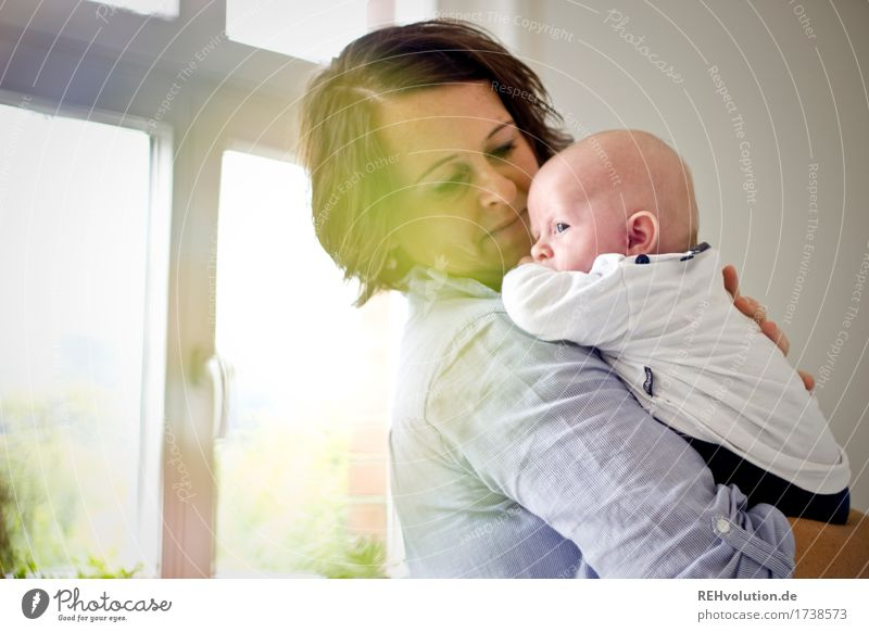 mother's happiness Living or residing Flat (apartment) Living room Human being Feminine Woman Adults Mother Family & Relations Infancy Face 1 0 - 12 months Baby