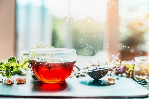 Cup with herbal tea at the window Herbs and spices Beverage Hot drink Tea Style Design Healthy Alternative medicine Healthy Eating Fitness Life Fragrance Cure