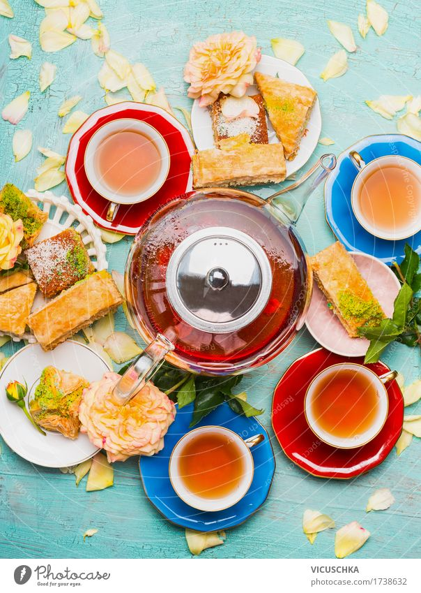 tea break with cups, flowers, cake and teapot Food Cake Dessert Breakfast Lunch Beverage Hot drink Tea Crockery Plate Cup Style Design Living or residing