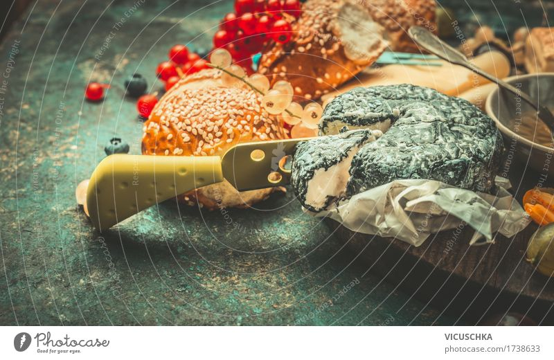 Soft cheese with knife and berries Food Cheese Dairy Products Dessert Nutrition Breakfast Buffet Brunch Beverage Knives Style Design Life Table Restaurant