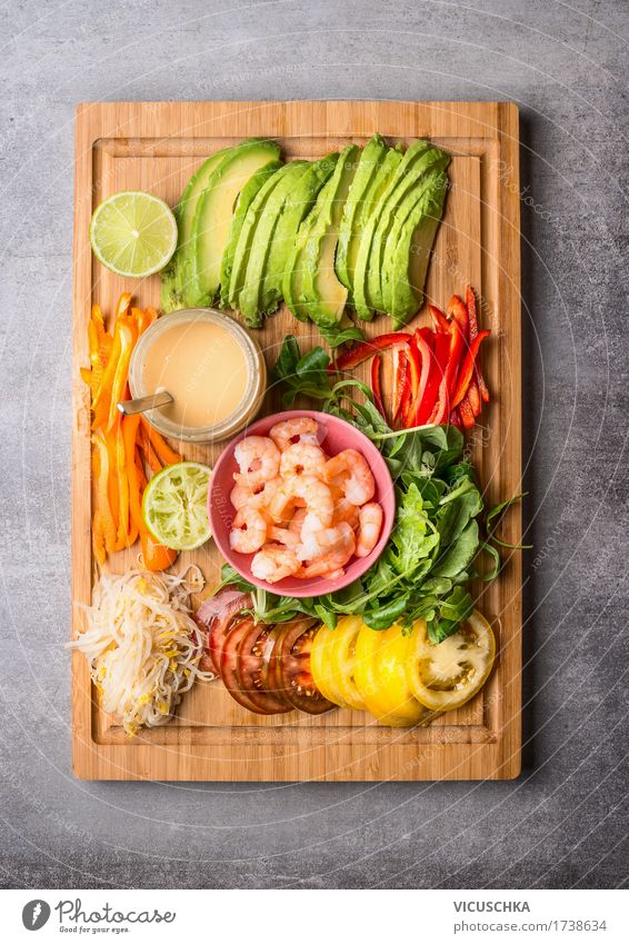 Salad ingredients with scampi and peanut dressing Food Seafood Vegetable Lettuce Nutrition Lunch Buffet Brunch Banquet Organic produce Vegetarian diet Diet