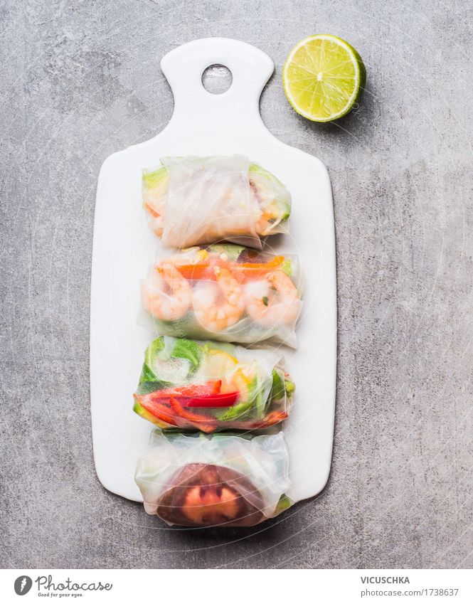 Rice paper rolls on white cutting board Food Seafood Vegetable Nutrition Lunch Dinner Buffet Brunch Organic produce Vegetarian diet Diet Style Design