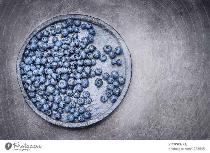 Blueberries with drops of water on a stone plate Food Fruit Nutrition Organic produce Vegetarian diet Diet Plate Bowl Style Design Healthy Eating Life Summer