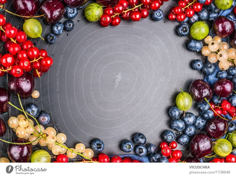 Selection of summer berries on blackboard background Food Fruit Nutrition Organic produce Vegetarian diet Diet Juice Style Design Healthy Healthy Eating Life