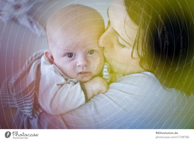 mother's happiness Healthy Contentment Calm Human being Feminine Baby Woman Adults Mother Face 2 0 - 12 months 30 - 45 years Observe Kissing Embrace Authentic