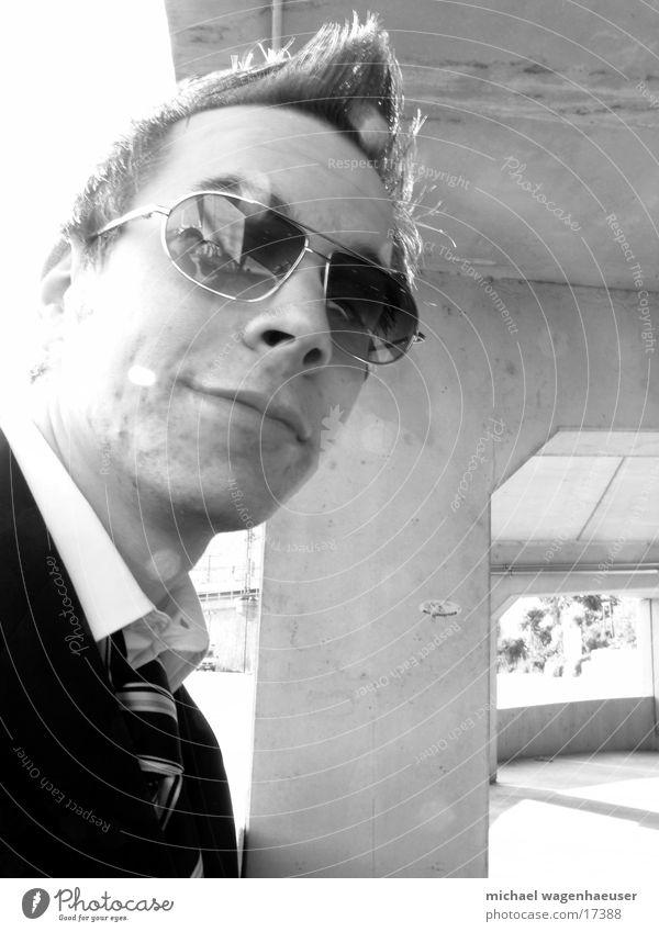 Pornoglasses DK Porno glasses Suit Concrete Wall (barrier) Style Man Cool (slang) Black & white photo Business Businessman